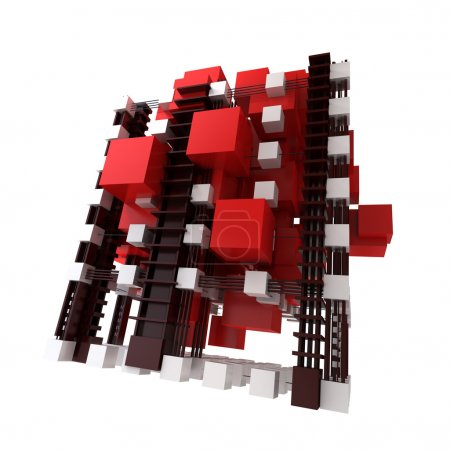 Abstract structure in red and white