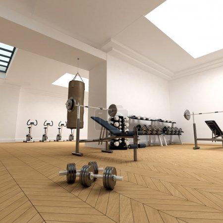 Photo pour Rendu 3D d'un gymnase - image libre de droit