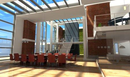 Foto de Renderizado 3D de una oficina muy moderna en un loft - Imagen libre de derechos
