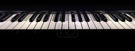 Photo pour Rendu 3D d'un clavier piano pris horizontalement - image libre de droit
