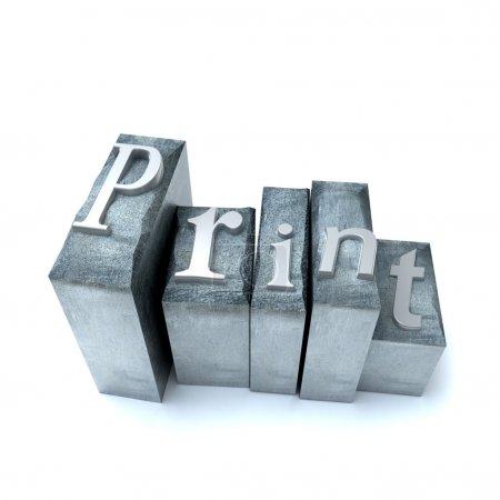 Photo pour Imprimer le mot écrit avec des boîtes aux lettres imprimées - image libre de droit