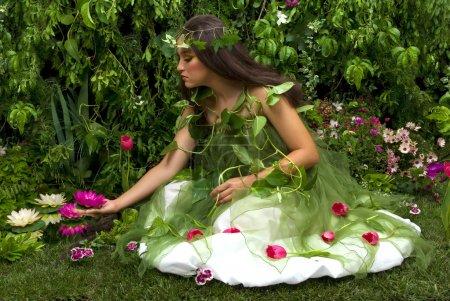 Photo pour Fée à la recherche sur certaines de ses nombreuses belles créations dans son jardin enchanté. - image libre de droit