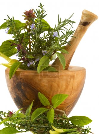 Foto de Healing herbs and edible flowers (hand carved olive tree mortar and pestle) - Imagen libre de derechos