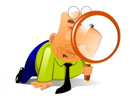Clerk with big magnifying glass look for