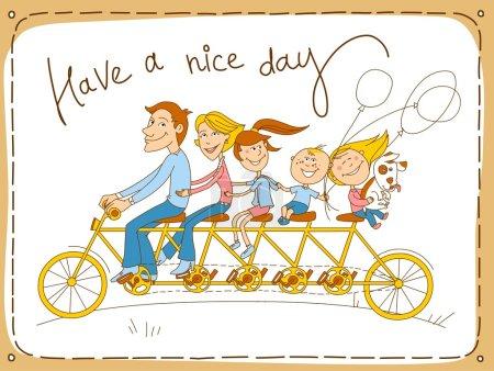 Illustration pour Carte postale. Tandem, Vélo pour cinq - Père, Mère, trois enfants avec petit chien . - image libre de droit