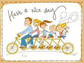 Happy family riding a tandem bicycle
