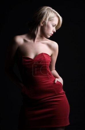 Stunning Blonde Girl in Red Dress