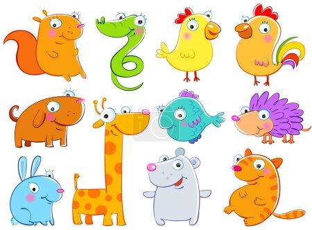 Illustration pour Beaux animaux, dessins d'enfants, la technique libre . - image libre de droit