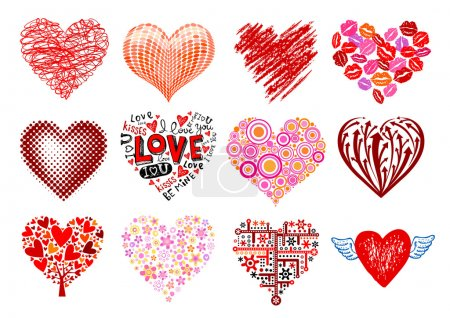 Photo for Set of 12 vector hearts, different styles. - Royalty Free Image