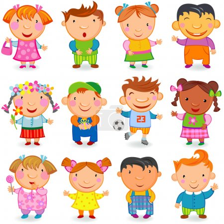 Illustration for Group of 12 kids different nations. Vector image. - Royalty Free Image