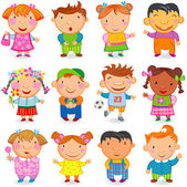 Group of 12 kids different nations Vector image