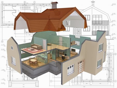 Photo for 3D isometric view the cut residential house on architect drawing. - Royalty Free Image