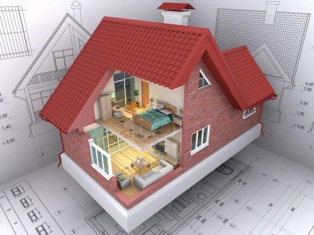 Photo pour Vue 3D isométrique la maison d'habitation sur l'architecte - image libre de droit