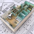 3D isometric view the cut residential house on arc...