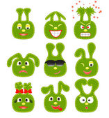 Set of nine green smileys