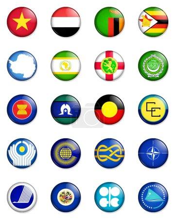Photo pour Une sélection des drapeaux des nations du monde réalisé dans le style des insignes de la petite touche rétro - image libre de droit