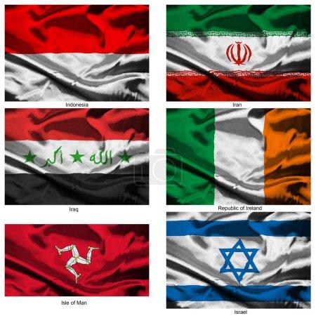 Photo pour Partie d'une collection des drapeaux tissu des world series - image libre de droit