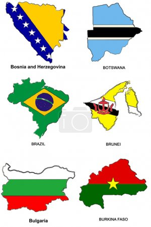 World flag map stylized sketches 05