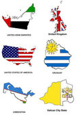World flag map stylized sketches 34