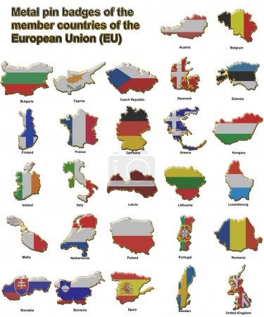 Photo pour Insignes de la tige métallique en forme de cartes de drapeau de tous les pays membres de l'union européenne - image libre de droit