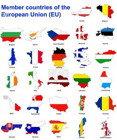 Photo pour Drapeau des cartes de tous les pays membres de l'union européenne - image libre de droit