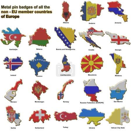 Photo pour Insignes de la tige métallique en forme de cartes de drapeau de tous les pays non membres de l'union européenne - image libre de droit