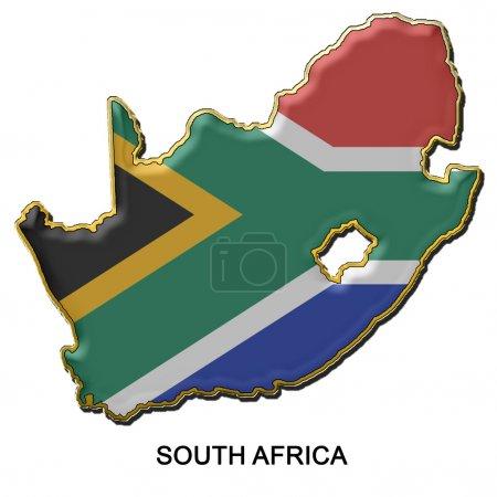Photo pour Carte en forme de drapeau d'Afrique du Sud dans le style d'un insigne broche métallique - image libre de droit