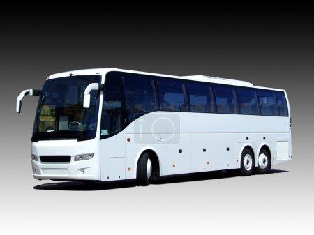 Photo pour Un bus blanc isolé sur un gradient noir et blanc - image libre de droit