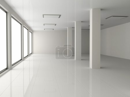 Photo for White empty hall with pillar - Royalty Free Image