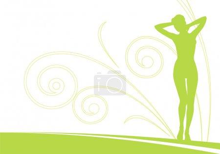 Illustration pour Composition horizontale avec une silhouette féminine. Derrière une figure se trouve l'ornement des spirales. A proximité un champ pour le texte . - image libre de droit