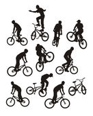 Vector composition with silhouettes of bicyclists Only ten silhouettes of black colour Near to them a bicycle silhouette