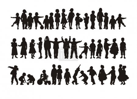 Illustration for Composition with silhouettes of children. On a white background forty four children's silhouettes are located. At each child the employment. - Royalty Free Image