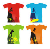 Composition with four T-shirts On them extreme sports are represented T-shirts are located on a white background