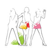 Composition with three female silhouettes They are drawn by a thin black line The summer clothes are put on them