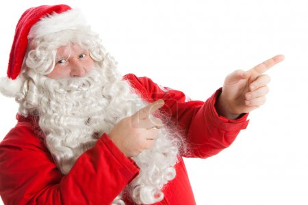 Photo for Funny Santa Claus showing in right direction with two fingers - Royalty Free Image