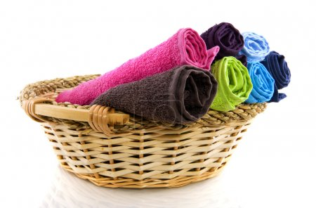 Basket with colorful towels