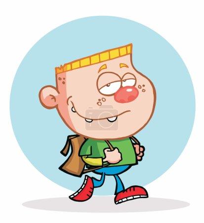 Cool Blond Boy Walking To School