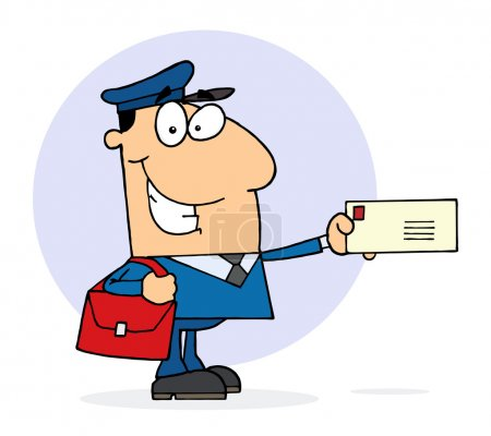 Photo for Caucasian Postal Worker Mail Man Holding A Letter - Royalty Free Image