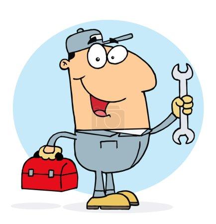 Photo pour Blanc plombier homme portant une clé rouge et boîte à outils - image libre de droit