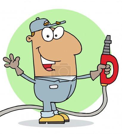 Photo pour Heureux hispanique Cartoon station-service préposé homme - image libre de droit