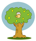 Sárga fogoly egy körte fa