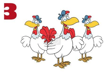 Photo pour Trois poules françaises - image libre de droit
