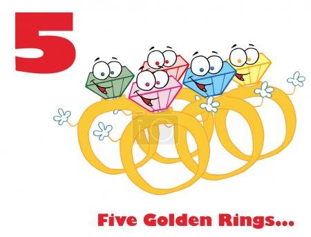 Photo pour Cinq anneaux dorés avec texte - image libre de droit
