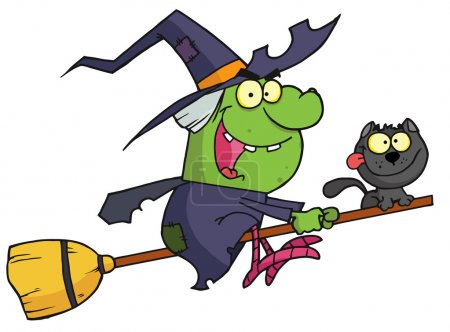 Cartoon character harrison rode a broomstick with a cat
