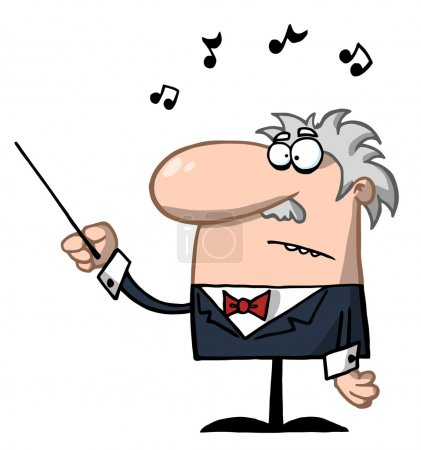 Orchestra Conductor Holds Baton