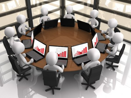 Photo for 3d having a corporate meeting in their company's office. - Royalty Free Image