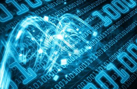 Photo pour Un fond illustré futuriste avec un design abstrait de faisceaux lumineux sur code binaire, en couleur bleue . - image libre de droit