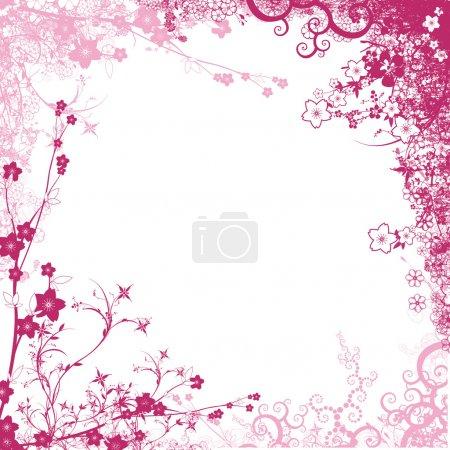 Photo pour Cadre rose avec feuillage cadre isolé sur fond blanc - image libre de droit