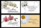 Set of 4 inspirational cards isolated on black background