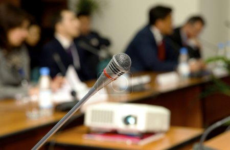 Photo for Microphone for the speaker in a conference to a hall - Royalty Free Image
